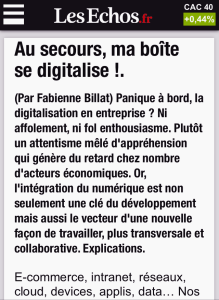 Article Les Echos digitalisation